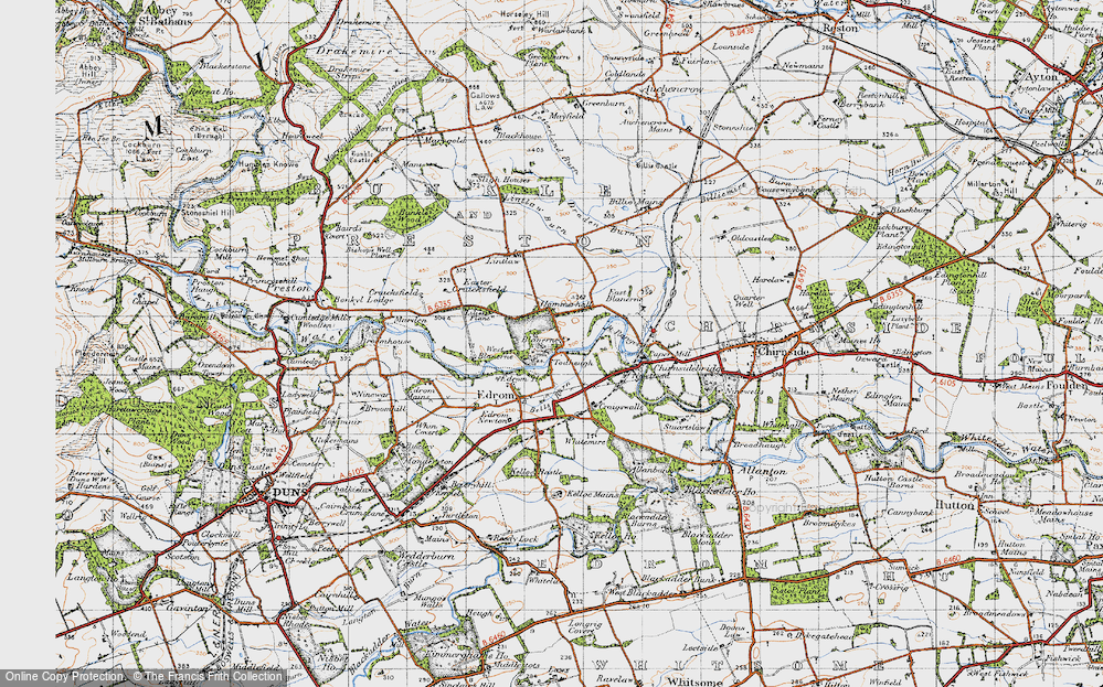 Old Map of Historic Map covering Lintlaw in 1947