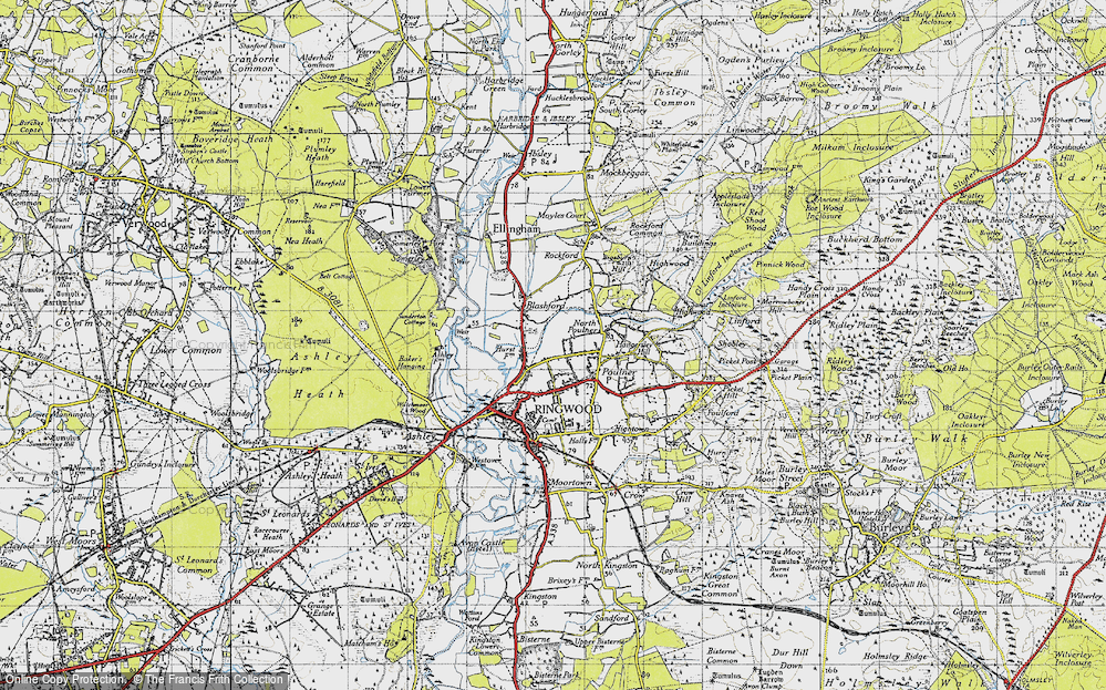 Old Map of Historic Map covering Baker's Hanging in 1940