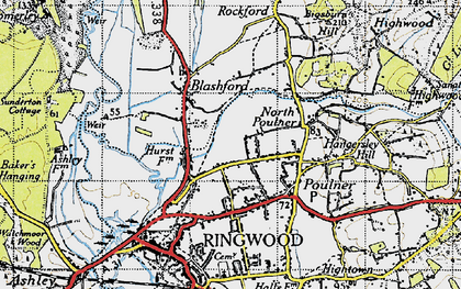 Old map of Baker's Hanging in 1940