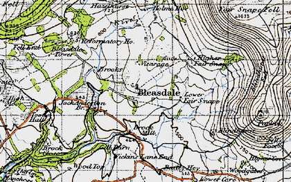 Old map of Bleasdale in 1947