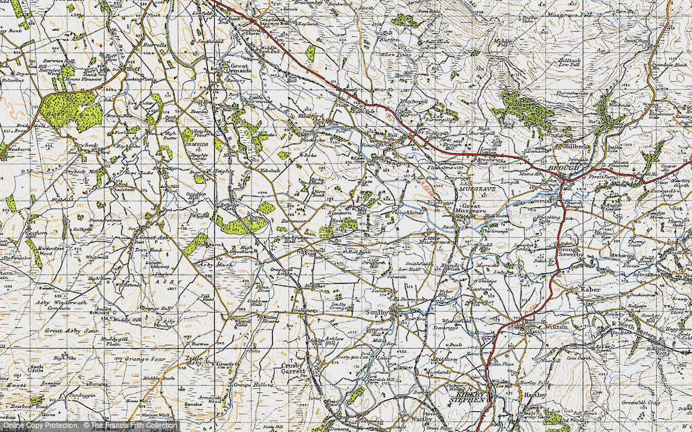Old Map of Historic Map covering Grassgill Rigg in 1947