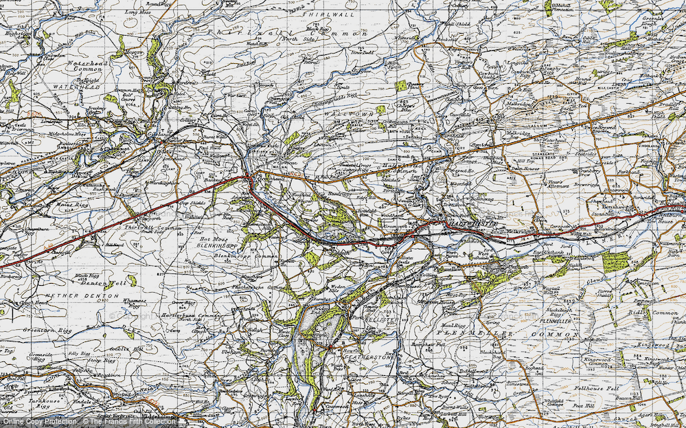 Old Map of Historic Map covering Woodhead in 1947