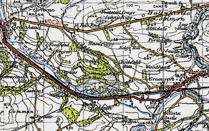 Old map of Tipalt Burn in 1947