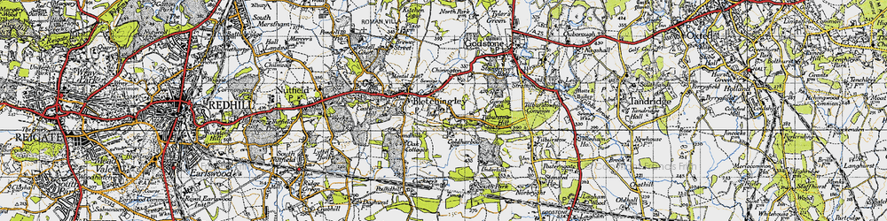 Old map of Tilburstow Hill in 1946