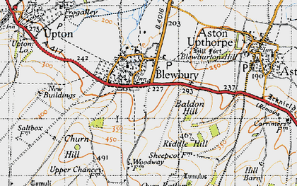 Old map of Blewbury in 1947