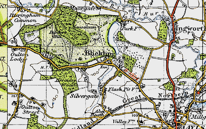 Old map of Blickling in 1945