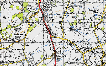 Old map of Blindley Heath in 1946