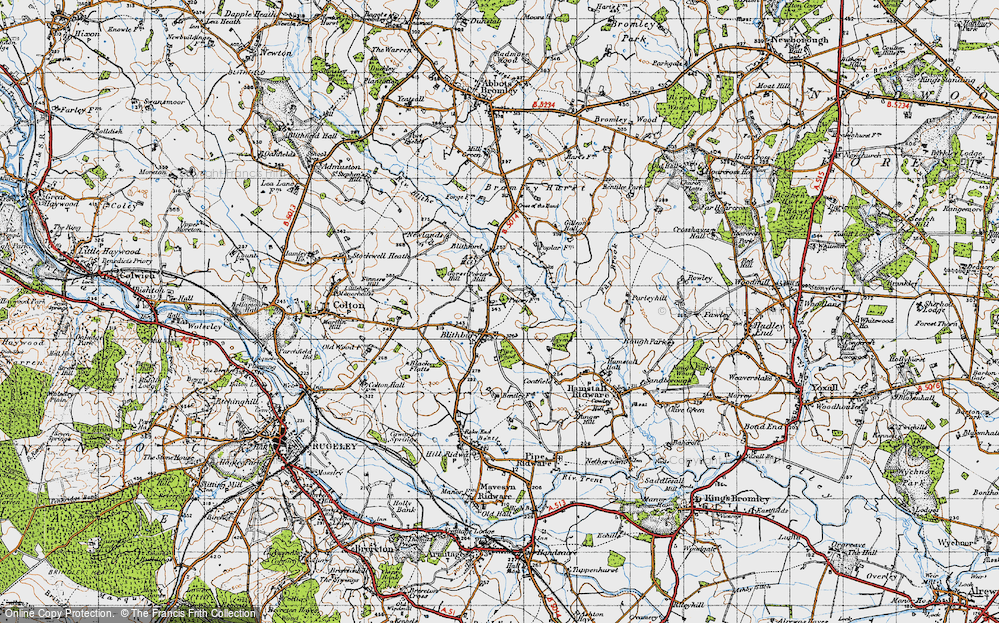 Old Map of Historic Map covering Ash Hill in 1946
