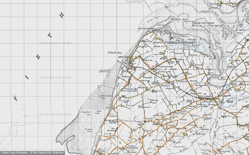 Old Map of Historic Map covering Lees Scar in 1947
