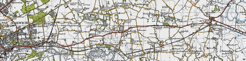 Old map of Witton Br in 1945