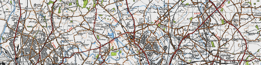 Old map of Bloxwich in 1946