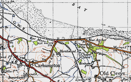 Old map of Blue Anchor in 1946