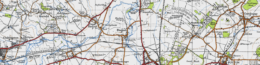 Old map of Blunham in 1946