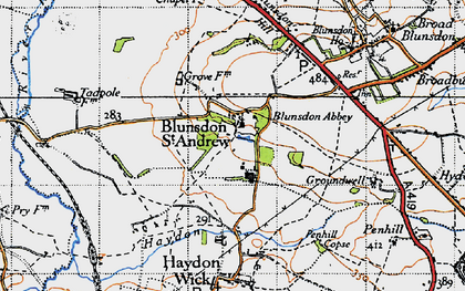 Old map of Blunsdon St Andrew in 1947