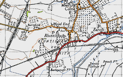 Old map of Bluntisham in 1946