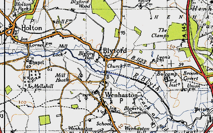 Old map of Blyford in 1946