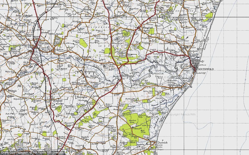 Old Map of Historic Map covering Toby's Walks in 1946