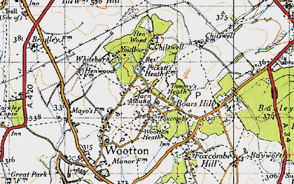 Old map of Youlbury Wood in 1947