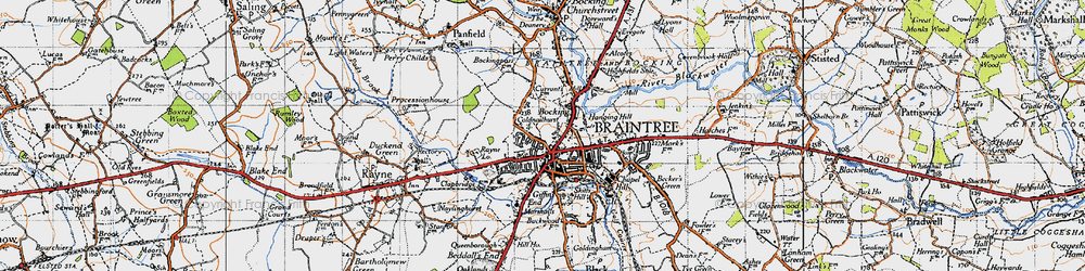 Old map of Bocking in 1945