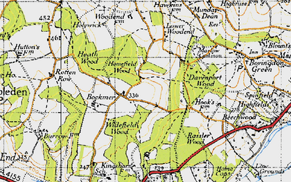 Old map of Widefield Wood in 1947