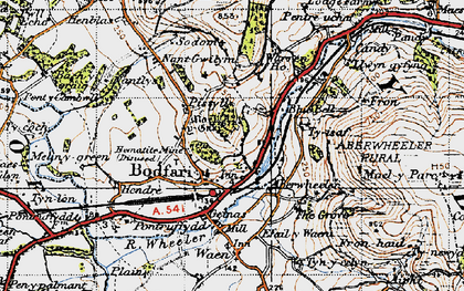 Old map of Bodfari in 1947