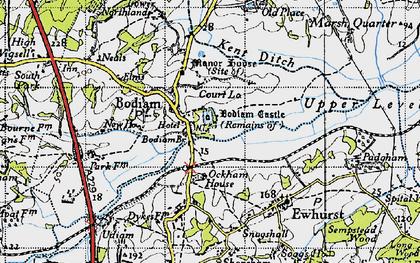 Old map of Bodiam in 1940