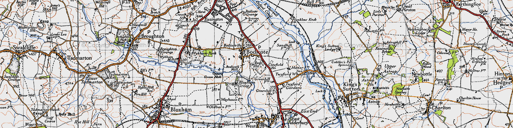 Old map of Bodicote in 1946