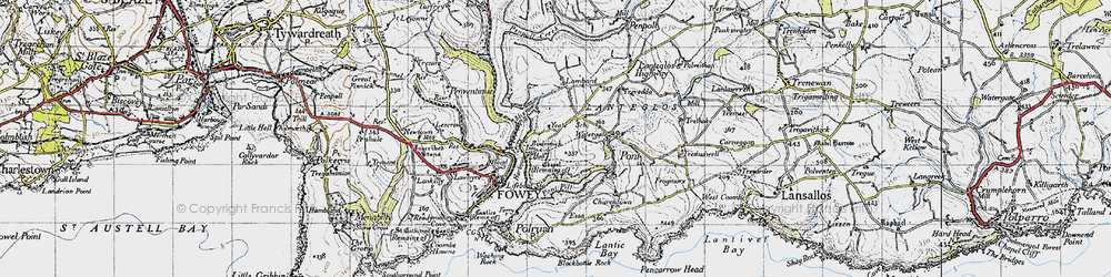 Old map of Bodinnick in 1946
