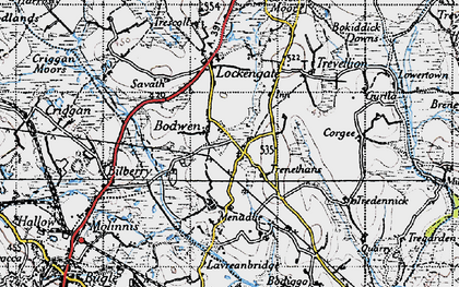 Old map of Bodwen in 1946