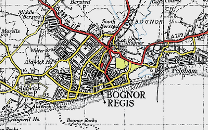 Old map of Bognor Regis in 1945