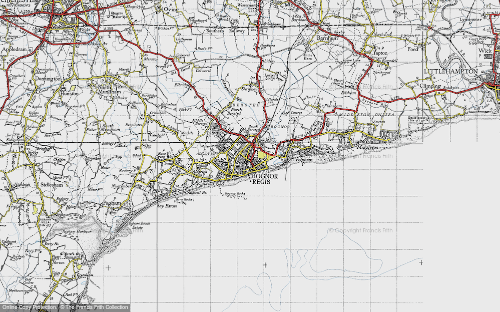 Map of Bognor Regis 1945 Francis Frith