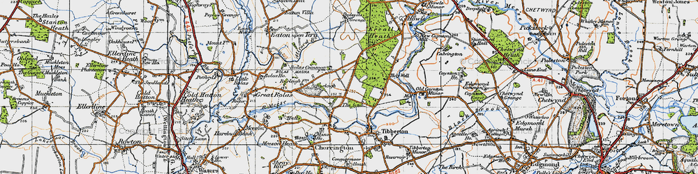 Old map of Allford Brook in 1947