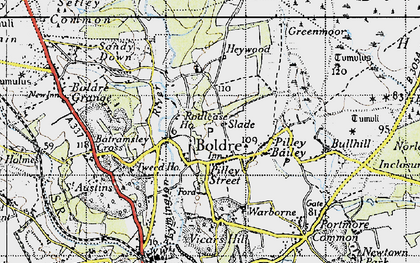 Old map of Boldre in 1945