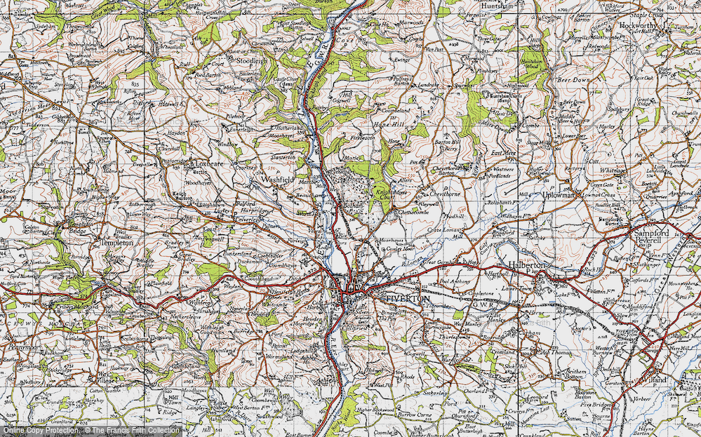 Old Map of Historic Map covering Worth Ho in 1946