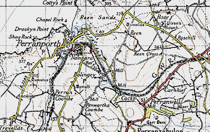 Old map of Bolingey in 1946