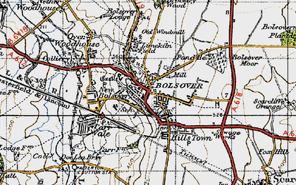 Old map of Bolsover in 1947