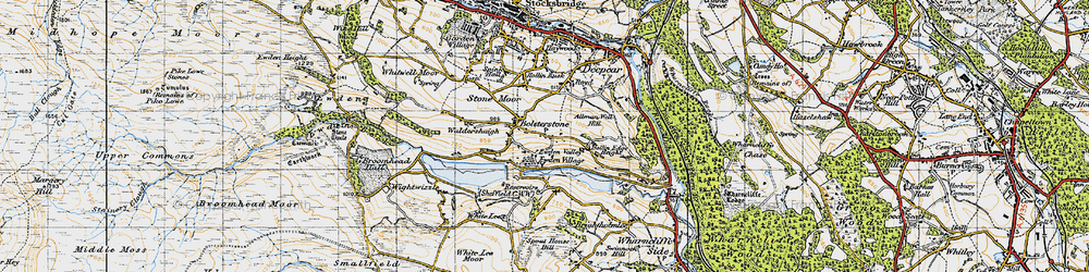 Old map of Bolsterstone in 1947