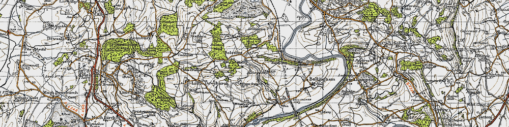 Old map of Witherstone in 1947