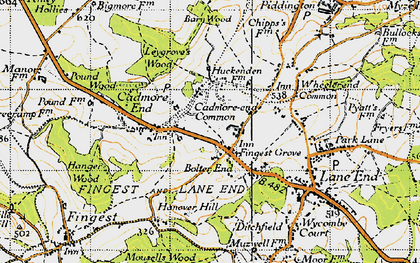 Old map of Bolter End in 1947