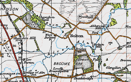 Old map of Abberwick Village in 1947