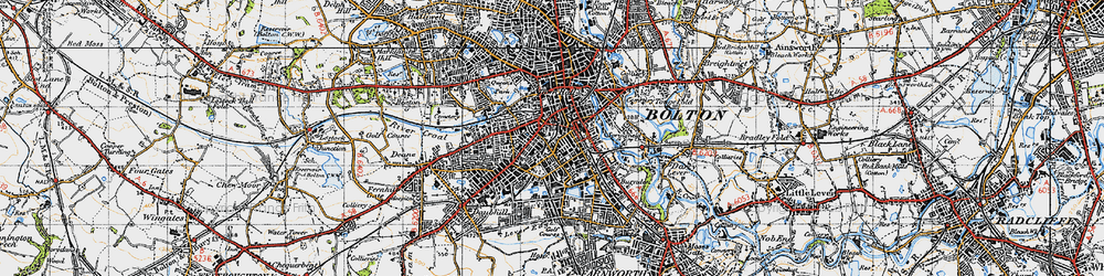 Old map of Bolton in 1947