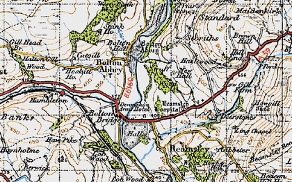 Old map of Bolton Abbey in 1947