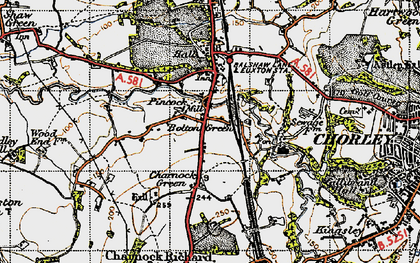 Old map of Bolton Green in 1947