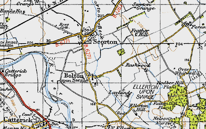 Old map of Bolton-on-Swale in 1947