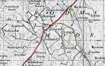 Old map of Bolventor in 1946