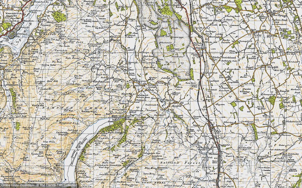 Old Map of Historic Map covering Toathmain in 1947