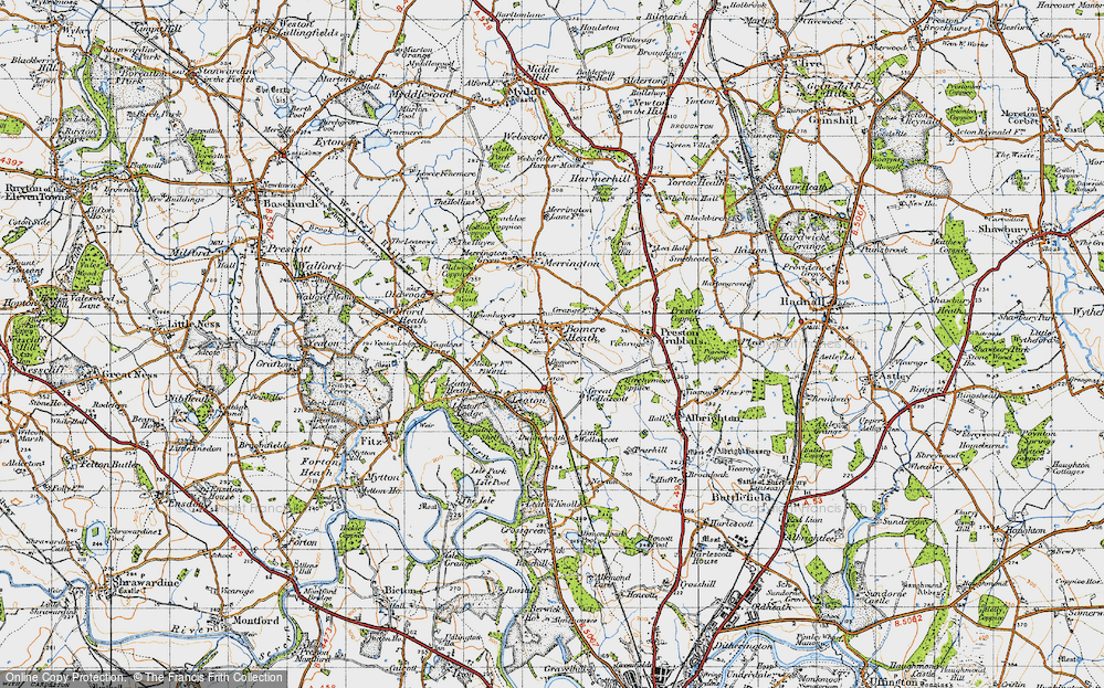 Old Map of Bomere Heath, 1947 in 1947