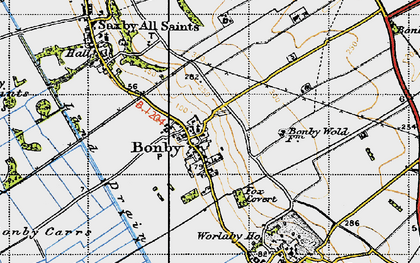 Old map of Worlaby Fox Covert in 1947
