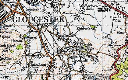 Old map of Bondend in 1947