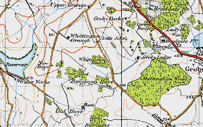 Old map of Whittington Grange in 1946